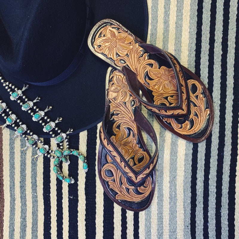 The Kenzie Tooled Leather Flip Flops - Triangle T Boutique