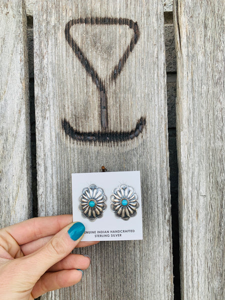 The Bruneau Turquoise Concho Earrings - Triangle T Boutique