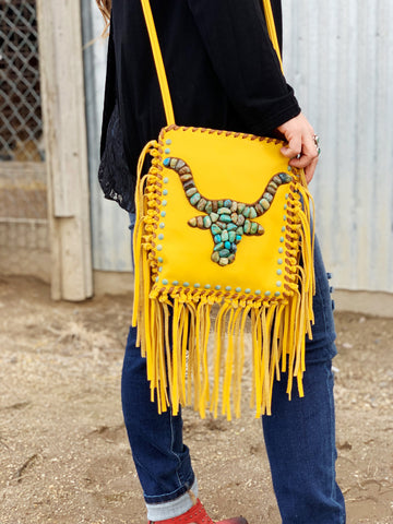 The Cadillac Ranch Fringe Crossbody Purse - Mustard - Triangle T Boutique