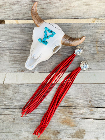 The Fancy Fringe Earrings - Red - Triangle T Boutique