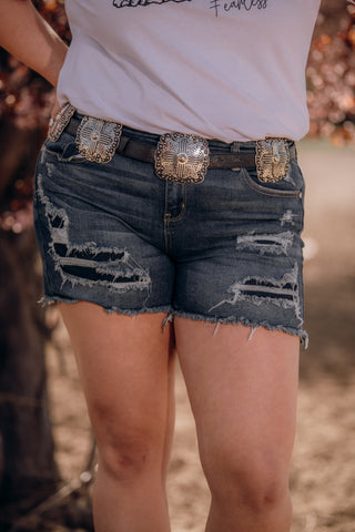 The Miranda Distressed Denim Shorts