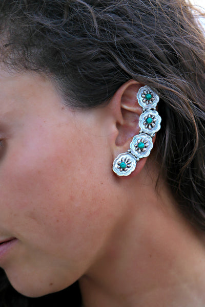 Sterling Silver & Turquoise Ear Crawler - Triangle T Boutique