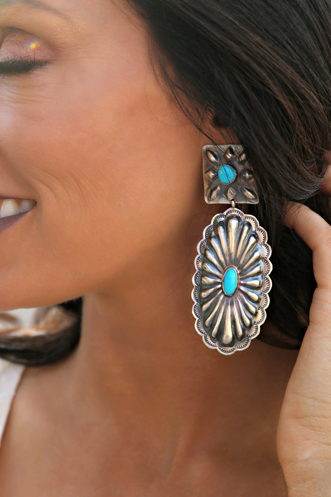 The Susie Sterling Silver & Turquoise Earrings - Triangle T Boutique