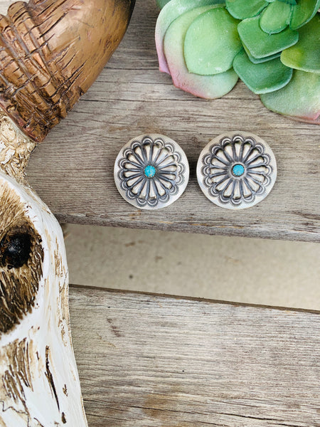 The Buckaroo Turquoise Concho Earring - Triangle T Boutique