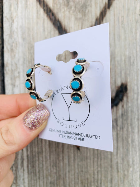 The Sansa Turquoise Hoop Earrings - Triangle T Boutique