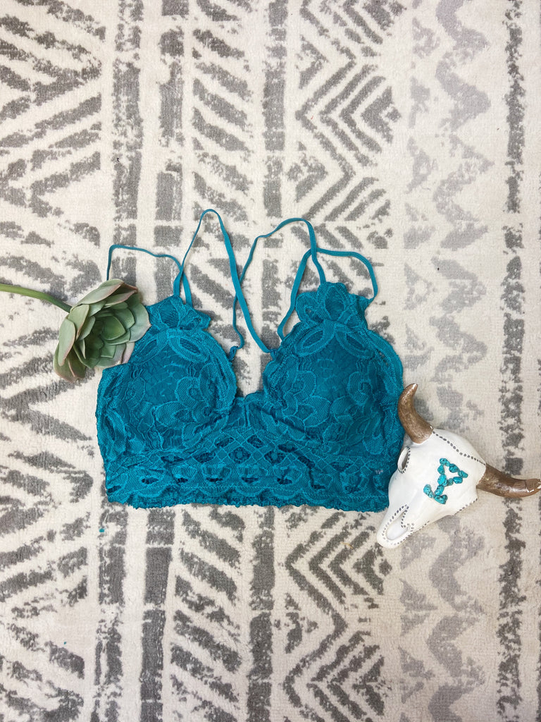Lace Bralettes - Teal - Triangle T Boutique