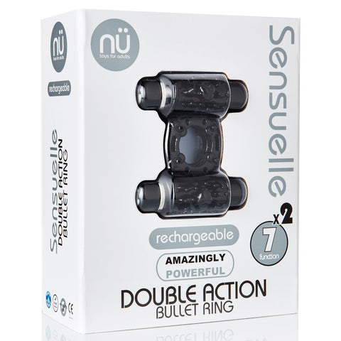Sensuelle Double Action 7+2 Function Cock Ring Bullet Vibrator - Black