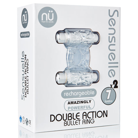 Sensuelle Double Action 7+2 Function Cock Ring Bullet Vibrator - Clear