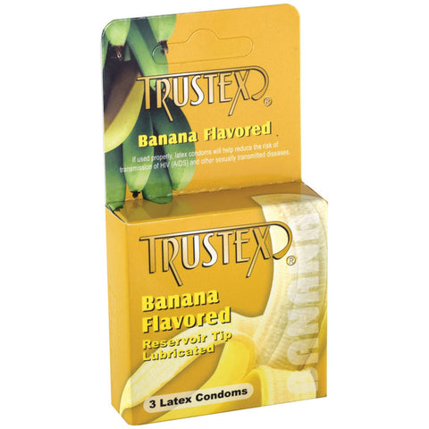 Trustex Flavored Latex Lubricated Condoms - Banana (3-Pack)