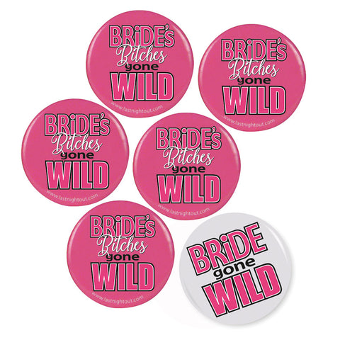 Bride/Bride Bitches Buttons (6 Pack)