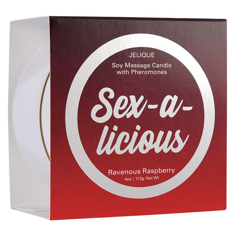 Jelique Soy Massage Candle With Pheromones Sex-A-Licious Ravenous Raspberry 4oz