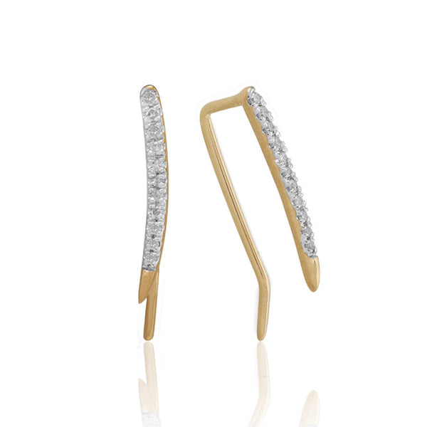 Adina Reyter Small Pave Curve Wing Earring