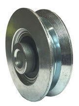 "2-3/8"" x 5/8"" Metal V-Groove Track Wheels  - Solid Steel - 110 lb. Capacity - GroovedWheels.com - 1"