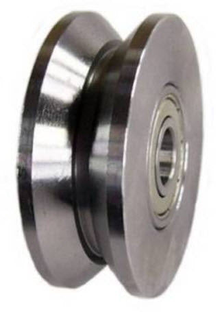 "2"" x 3/4"" (50mm x 18mm) Metal V-Groove Track Wheel - Solid Steel - 260 lb. Capacity - GroovedWheels.com - 1"