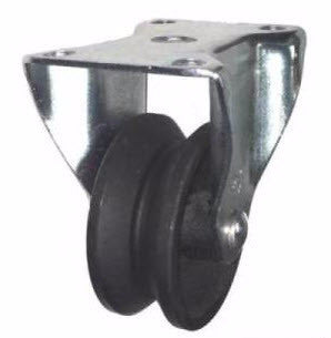"3"" x 1-1/4"" Metal Track Caster - Cast Iron Wheel V-Groove Caster - 225 lb. Capacity - Rigid - GroovedWheels.com - 1"