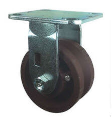 "4"" x 2"" Ductile Steel Wheel - Metal Track Wheel Caster - V-Groove Casters - 1200 lb. Capacity - Rigid - GroovedWheels.com - 1"