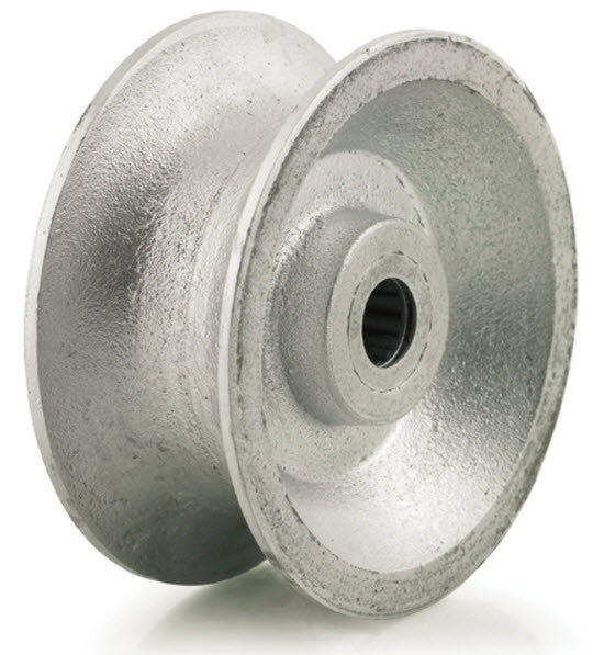 Metal Pipe Wheel u-groove wheel - heavy duty - silver - pipe track wheel - GroovedWheels.com