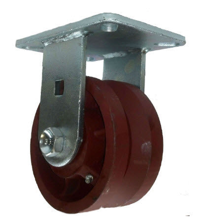 "6"" x 3"" Metal Track Caster - Ductile Steel Wheel - V-Groove Caster - 3500 lb. Capacity - Rigid - Wide 1-3/8"" Groove - GroovedWheels.com - 1"