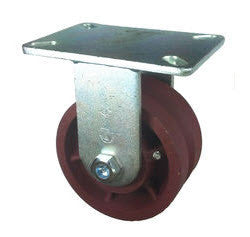 "6"" x 3"" Metal Track Caster - Ductile Steel Wheel - V-Groove Caster - 3500 lb. Capacity - Rigid - 7/8"" Groove - GroovedWheels.com - 1"
