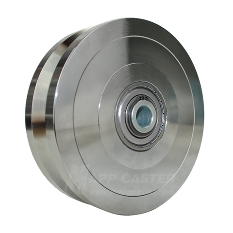6 inch metal track wheel - v groove wheel - zinc plated steel - 5000 lb capacity - groovedwheels.com 1