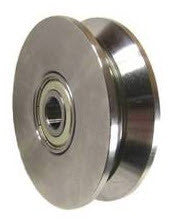"3"" x ~7/8"" (75 mm x 22 mm) Metal V- Groove  Track Wheel - Solid Steel - 550 lb. Capacity - GroovedWheels.com - 1"