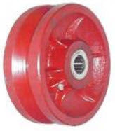 8 inch metal track wheel - v groove wheel - Ductile Steel - 5000 lb capacity - heavy duty - red - groovedwheels.com 1