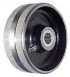 8 inch metal track wheel - v groove wheel - Forged Steel - 5000 lb capacity - heavy duty - groovedwheels.com 1