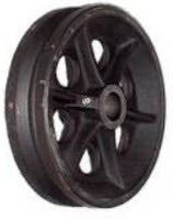 8 inch metal track wheel - v groove wheel - cast iron 1200 lb capacity - groovedwheels.com 1