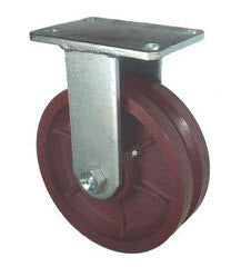 "8"" x 2.5"" Metal Track Caster - Ductile Steel Wheel - V-Groove Caster - 1800 lb. Capacity - Rigid - GroovedWheels.com - 1"