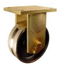 "8"" x 3"" Metal Track Caster - Forged Steel Wheel - V-Groove Caster - 5000 lb. Capacity - Rigid - Plated - GroovedWheels.com - 1"