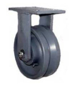 "8"" x 3"" Metal Track Wheel - Cast Iron Wheel - V-Groove Caster - 2000 lb. Capacity - Rigid - GroovedWheels.com - 1"