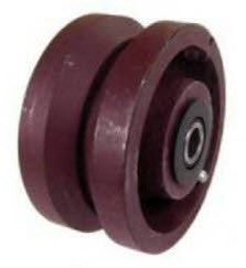 4 inch metal track wheel - ductile steel wheel - v-groove - heavy duty GroovedWheels.com