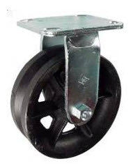 "6"" x 2"" Metal Track Caster - Cast Iron Wheel - V-Groove Caster - 1000 lb. Capacity - Rigid - GroovedWheels.com - 1"