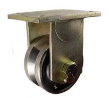 "6"" x 3"" Metal Track Caster -  Forged Steel Wheel - V-Groove Caster - 5000 lb. Capacity - Rigid - Plated - GroovedWheels.com - 1"