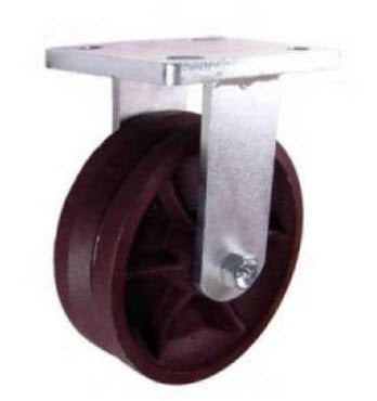 "6"" x 2"" Metal Track Caster - Ductile Steel Wheel - V-Groove Caster 1250 lb. Capacity - Rigid - GroovedWheels.com - 1"