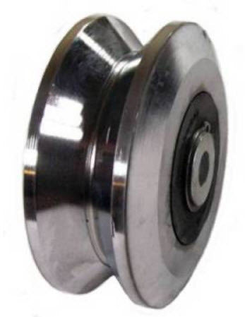 "4"" metal u-groove track wheel heavy duty, runs on rails"