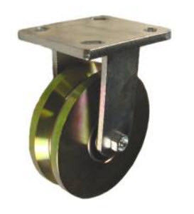 "6"" x 2"" Metal Track Caster - Forged Steel Wheel - V-Groove Caster - 1,500 lb. Capacity - Plated - GroovedWheels.com - 1"