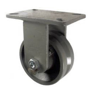 "6"" x 2-1/2"" Metal Track Caster - Cast Iron Wheel - V-Groove Caster 2000 lb. Capacity - Rigid - GroovedWheels.com - 1"