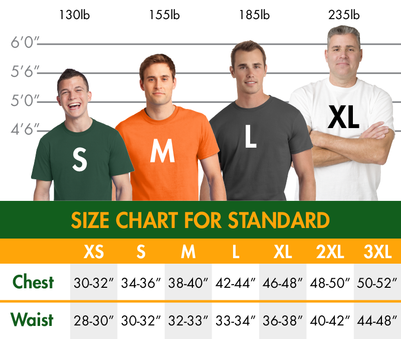 Standard Shirt Sizing Guide