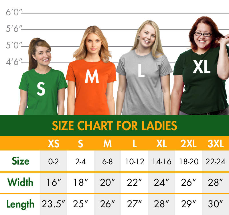 Ladies Shirt Sizing Chart