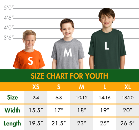 Youth Shirt Sizing Chart