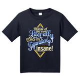 Youth Navy Misuse Of Literally Drives Me Figuratively Insane - Grammar Snob T-shirt