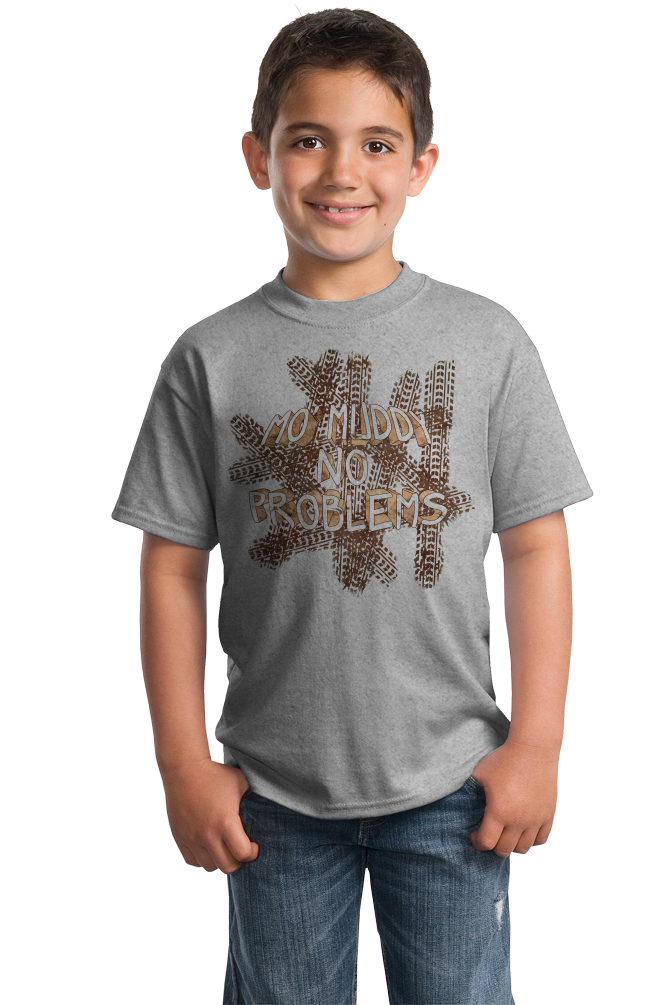 Youth Grey Mo' Muddy, No Problems - Muddin Offroading Funny Pride 4WD T-shirt