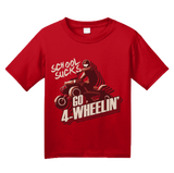 Youth Red School Sucks, Go 4 Wheeling! - 4 Wheeler Quads Muddin Dirt Funny T-shirt