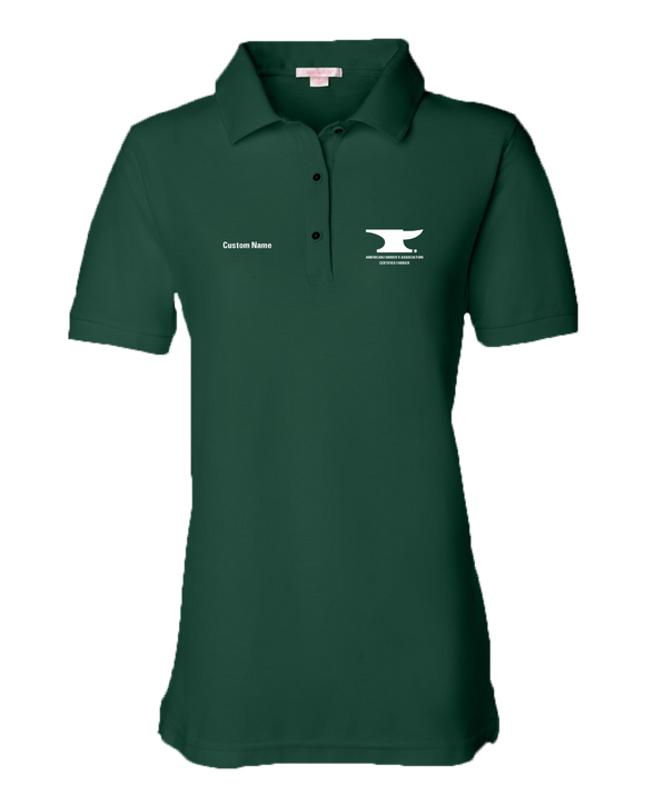 Ladies Pique Polo Forest Green Customizable Men's or Ladies' Short Sleeve AFA Certified Farrier Polo
