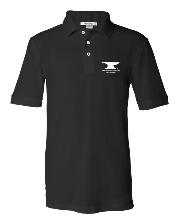 Unisex Pique Polo Black Men's or Ladies' Short Sleeve AFA Certified Farrier Polo