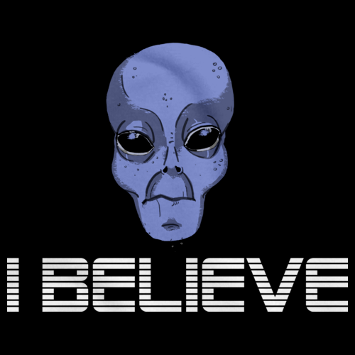 Grey Alien Believe | Alien UFO Enthusiast Black art preview