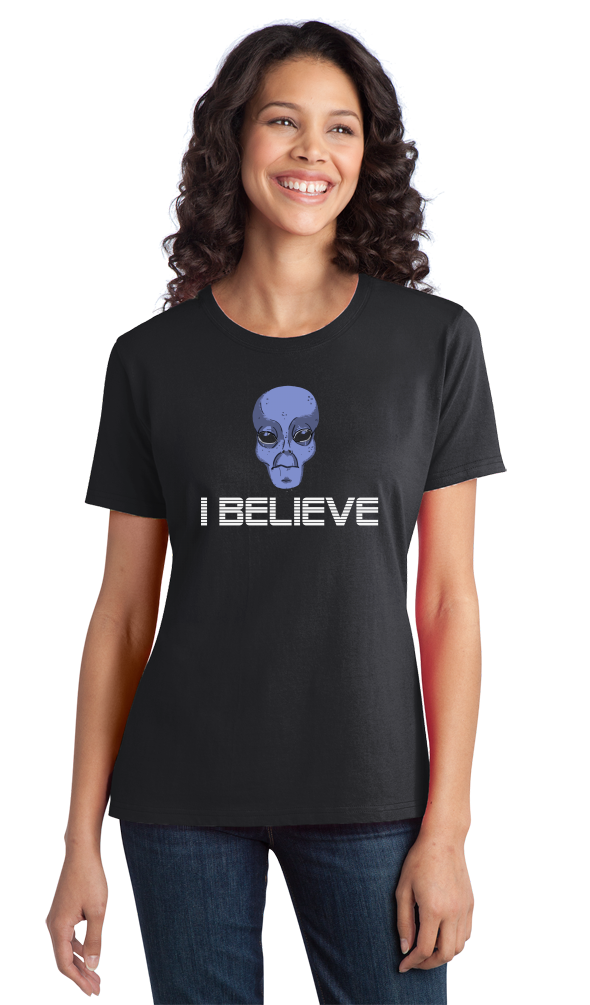 Ladies Black Grey Alien Believe - Alien UFO X-Files Area 51 Believe Mulder T-shirt