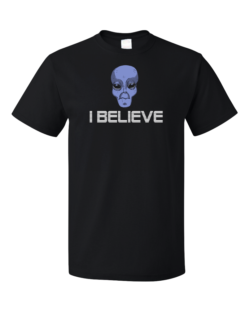 Standard Black Grey Alien Believe - Alien UFO X-Files Area 51 Believe Mulder T-shirt