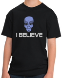Youth Black Grey Alien Believe - Alien UFO X-Files Area 51 Believe Mulder T-shirt